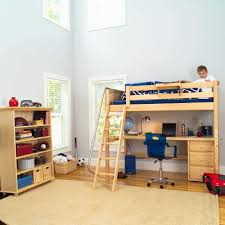 image of twin loft bed with desk and storage kids