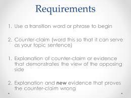 rebuttal paragraph argument essay requirements use a transition  rebuttal paragraph argument essay 2 requirements 1