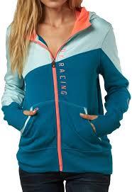 fox racing womens conserve zip up hoody sweatshirt blue