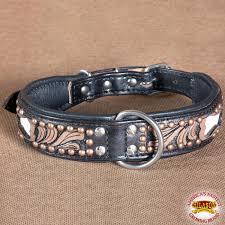 hilason heavy duty genuine leather dog collar fl carving brown zoom