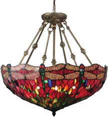 Dale Tiffany Th15122 Dragonfly Tiffany Antique Bronze Drop Lighting Fixture