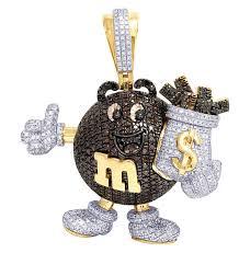 mens real red diamond money bag dollar pendant 10k yellow gold 2 3 75ct