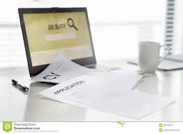 Job Seeking In Home Office Laptop With Online Search Engine For