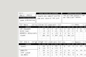 work out sheet for the gym workout tracker