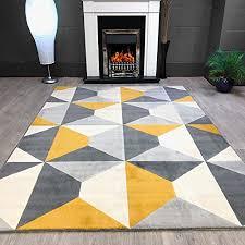 new grey cream mustard diamond soft touch quality rug 120x170cm b0779h67