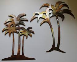 the best metal palm tree wall art andrews living charm of image for outdoor popular and