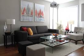Furniture. Minimalist Look Of Gray Couch Decor To Renew Your Living Room.  dark grey