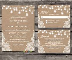 Burlap And Lace Wedding Invitations Personalized Rustic Burlap Lace String Lights Lace Wedding
