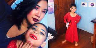 little boy does drag makeup with his mom after watching rupaul s drag race allure