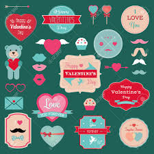 valentine s day badges icons labels set vector ilration hipster mustaches lips