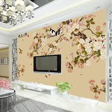 Beautiful Wallpaper Design For Home Decor Free shipping Elegant Bird and flower Wallpaper Custom 100D Wall Mural 24