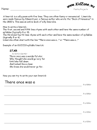 Kidzone Poetry Activity Worksheets