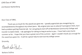 thank you note email info barbara dasilva thank you note lynn english class of 65