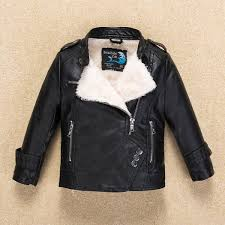 new fur collar fleece thick boys girls leather jacket for autumn winter kids warm coat er children s clothing malaysia