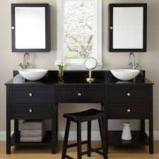 beauty vanity desk and black stained oak wood bathroom with double vanities rectangle polished teak white beauteous home office work