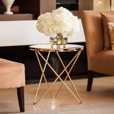 danya b tetra clear glasstop with gold metal frame round end table