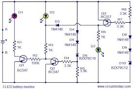monitor circuit diagram ireleast info 3 led battery monitor circuit electronic circuits and diagram wiring circuit