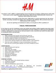 Resume Cover Letter For Visual Merchandiser Shishita World Com