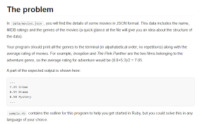 Ruby Job Interview Question Parsing Json And Displaying