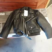 details about kids black leather motorcycle jacket l boys girl 39 00 free