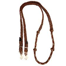braided nylon barrel reins with knots brown tan