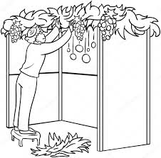 Jewish Guy Builds Sukkah For Sukkot Coloring Page — Stock Vector ...