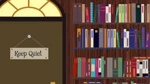 cartoon library with book shelves and puters stock video