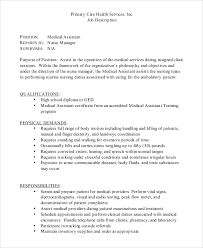 Sample Medical Assistant Job Dutie 7 Documents In Word Pdf