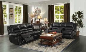 Leather Reclining Living Room Sets Homelegance Center Hill Reclining Sofa Set Black Bonded Leather