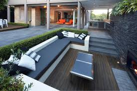 Outdoor seating deck eclectic with u shaped bench garden bench
