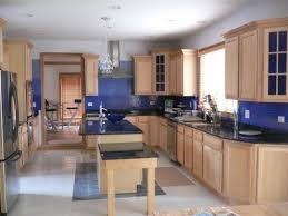 blue kitchen colors with oak cabinets