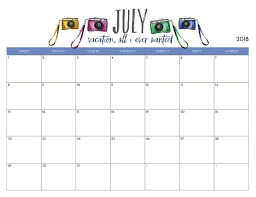 Free Printable July 2018 Monthly Calendar Classroom Tools