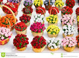 Basket Flower Decoration Flower Arrangement In Baskets Stock Photo Image 59680731
