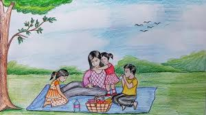 how to draw scenery of family picnic step by step farjana drawing academy