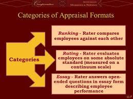 performance appraisals ppt  7 categories of appraisal formats