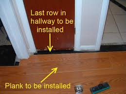 hallways here is where the last row of laminate flooring will be installed in the