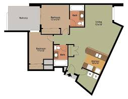 floor plan style x 2 bedroom apartment