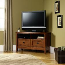 Television Tables Living Room Furniture Amazoncom Sauder August Hill Corner Entertainment Stand Oiled