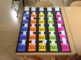 Jeopardy Game Template Just finished my reusable JEOPARDY BOARD - pockets made with card ...