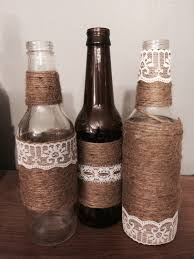 5 Twine wrapped beer bottles with lace/ribbon decor