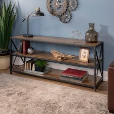walker edison furniture company 60 in x frame metal and wood console table in rustic oak hds60xmwro the home depot