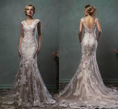 2016 amelia sposa wedding dresses vintage v neck lace overlay