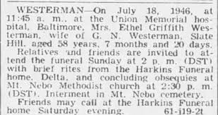 Obituary for Ethel Griffith WESTERMAN (Aged 58) - Newspapers.com