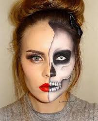 half faced skeleton makeup