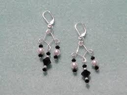 swarovski jet and pearl earrings