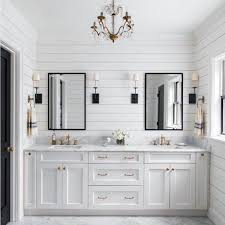 awesome white painted wood shiplap wall ideas for bathroom