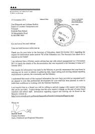 Ministry Letters re 2011 Charter - Kaikohe East School