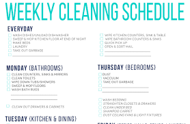 Household Chore List Template Free Printable Cleaning Schedule For Household Chores