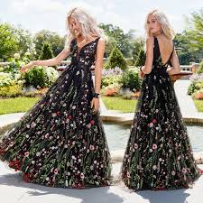 2019 <b>Hot Sale Sexy Party</b> Dress Deep V Neck Embroidered Dresses ...