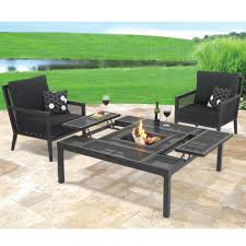 outdoor dining table fire pit with black patio furniture set and black and white pillow black outdoor balcony furniture